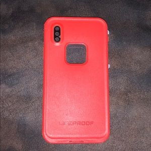 iPhone X red lifeproof case